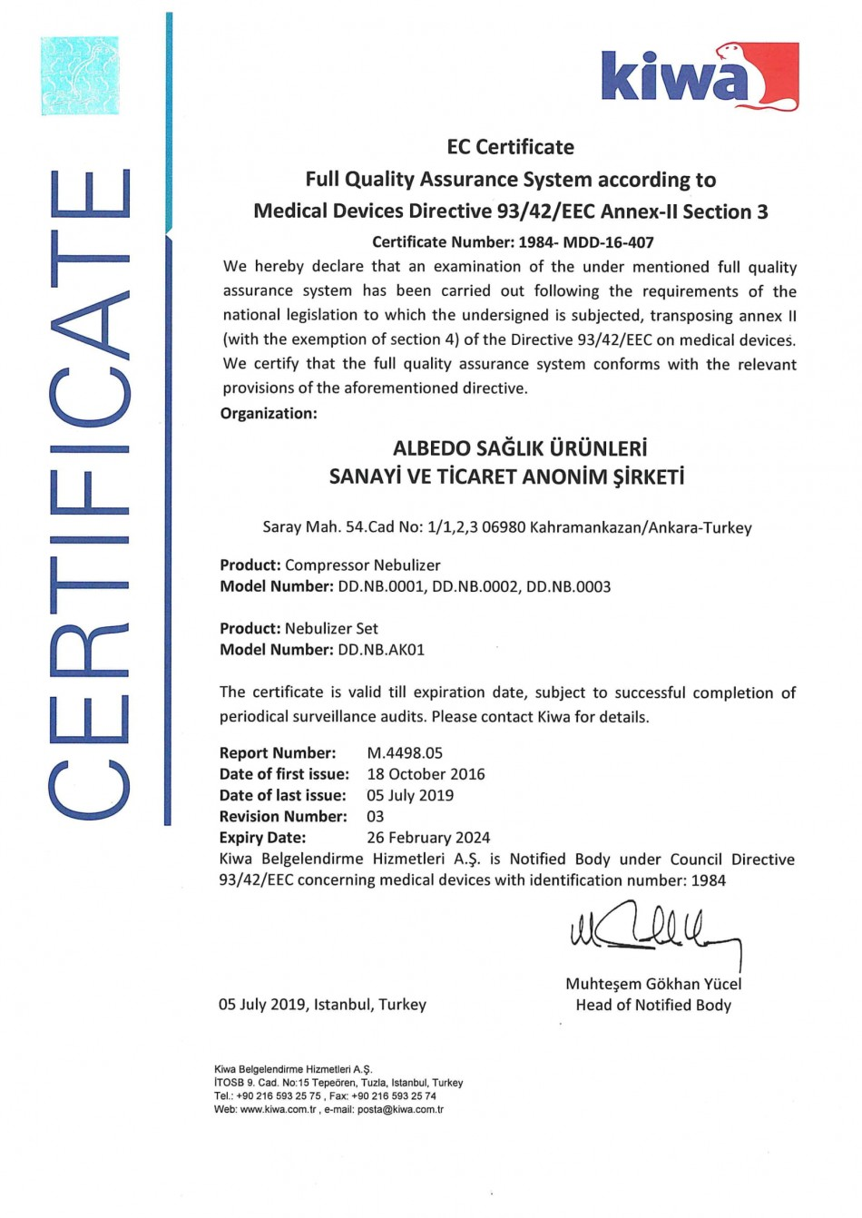 ALBEDO MEDICAL PRODUCTS - CERTIFICATES 93/42/EEC MDD - CE  Certificate