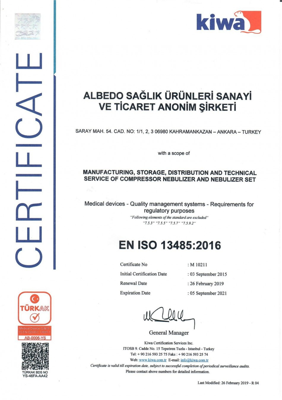 ALBEDO MEDICAL PRODUCTS - CERTIFICATES EN ISO 13485:2016